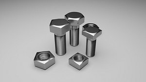 Bolts and Nuts Set 3D model