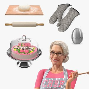 3D Elderly Woman with Cake Preparings  Collection