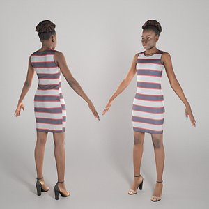 Pretty woman in striped dress ready for animation 284 model