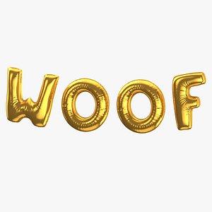 3D Foil Baloon Words Woof Gold