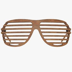 Wooden Shutter Shades Sunglasses - Game Asset 3D