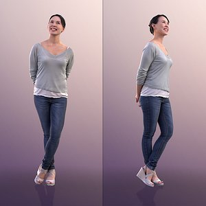 10556 Bao - Casual Standing Woman Looking Up 3D model