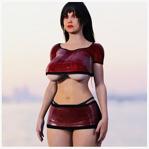 3D model Curvy Woman in Red Clothes Rigged