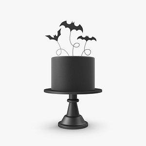 3D Halloween Cake with 3 Bat Topper model