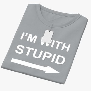 Female Crew Neck Folded With Tag Gray Im With Stupid 01 3D model