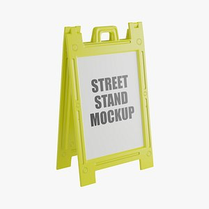 yellow street stand 3D model