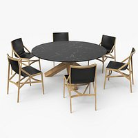 Cassina Dining Table Chair Set Oak Marble