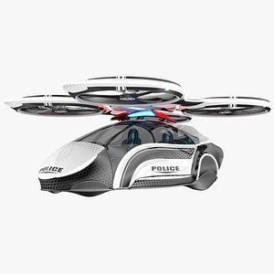 sci-fi futuristic police aircraft model