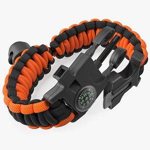 3D model Atomic Bear Cobra Survival Bracelet Orange