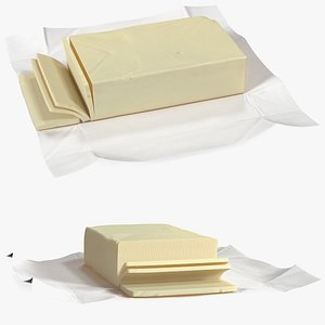 3D model Sliced Butter in Open Foil Packaging