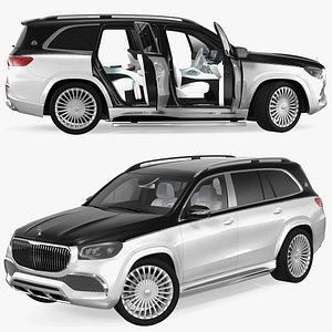 maybach gls 600 silver 3D model