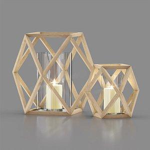 3D angular wood lanterns