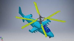 3D kamov ka-52 helicopter