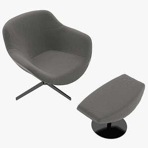 Cassina 277-22 Auckland Arm Chair and 277-42 Auckland Ottoman Charcoal Fabric Black Body 3D model