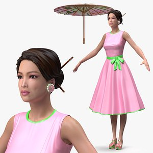3D Asian Women Wear Summer Fashion Dress T Pose