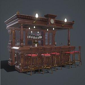 3D canopy pub bar chairs model