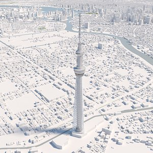 3D Tokyo Skytree TV Tower and environment