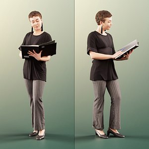woman standing reading 3D model