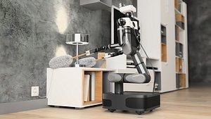 Robot Autonomous housework interior scene 3D model