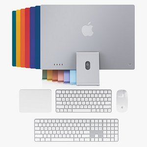 Apple iMac 24-inch 2021 Set All Color 3D model