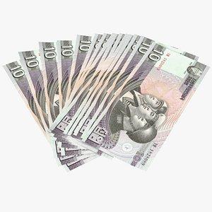 3D Fan Shaped North Korea 10 Won Banknotes