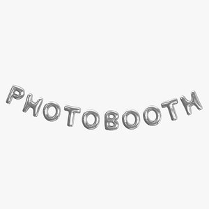 3D Foil Baloon Words PHOTOBOOTH Silver model