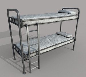 Old Bunk Bed Mattress and Pillows 3D model