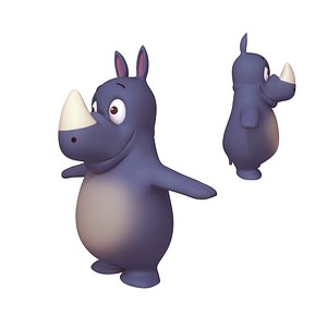 3D rhino cartoon toon model
