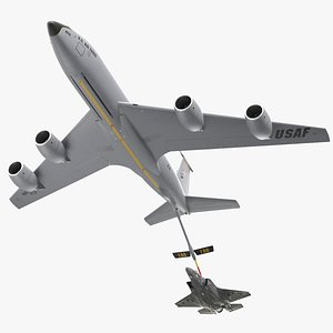 Boeing KC 135 Stratotanker with F35 Lightning II 3D