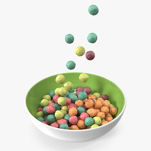 3D Colorful Cereal Balls Falling into Bowl model