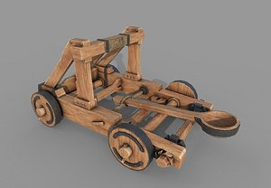 3D Medieval Wooden Catapult