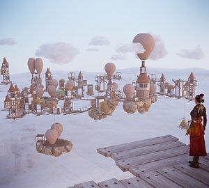 3D model Medieval Flying City