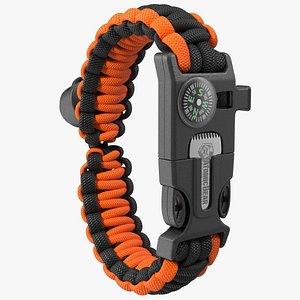 3D Atomic Bear Tactical Paracord Bracelet Orange model