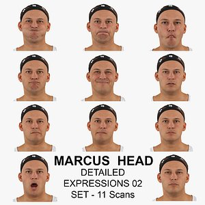 3D Marcus Real Head Detailed Expressions 02 Set 11 RAW Scans Collection model