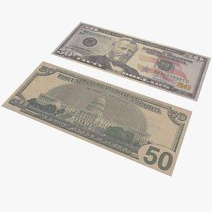 3D model Money Fifty Dollar With Pbr 4K 8K