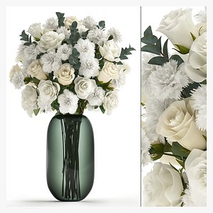 3D Bouquet of white flowers in a vase for decor 147 model