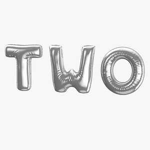 3D Foil Baloon Words Two Silver