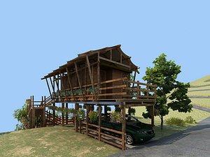 Log house, wooden house, broken wooden house, old wooden house, ancient broken wooden house, broken