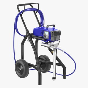 Airless Paint Sprayer with Hose and Spray Gun 3D model