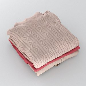 3D Stack Of Folded Womens Clothes 171