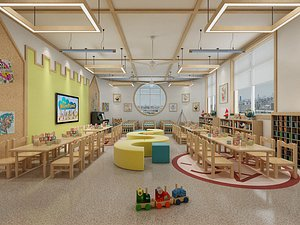 Kindergarten Kindergarten classroom Early Education center Nursery school Library Multimedia room Ac 3D model