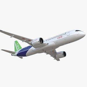 3D Comac C919 Narrow Body Airliner Rigged