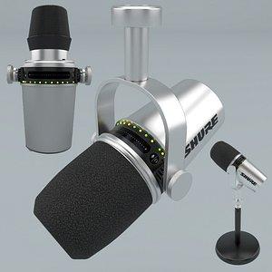Shure MV7 Podcast Microphone Grey 3D model
