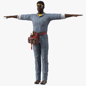 3D model Dark Skin Black Man Electrician T Pose