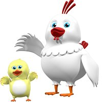 Cartoon Hen and chick Rigged Model