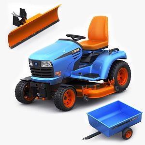 3D Riding Lawn Mower with trailer and snow blade