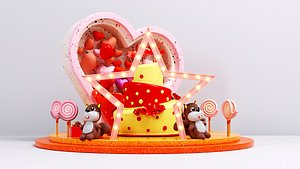 314 520 birthday cake five pointed star love beauty valentine day dp point love beauty Chen love s 3D model