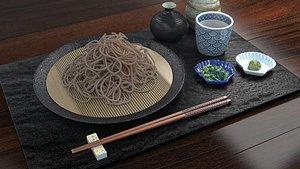 cold zaru soba noodles set model