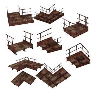 4 Models Industrial Platforms  Stairs 01 Set PCorridor 3D model