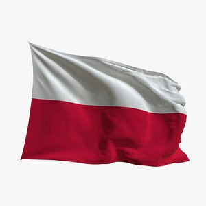Realistic Animated Flag - Microtexture Rigged - Put your own texture - Def Poland 3D model